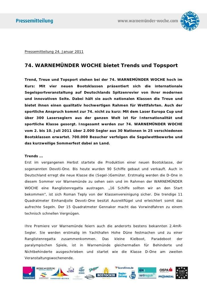 Pressemitteilung 24. Januar 201174. WARNEMÜNDER WOCHE bietet Trends und TopsportTrend, Treue und Topsport stehen bei der 7...