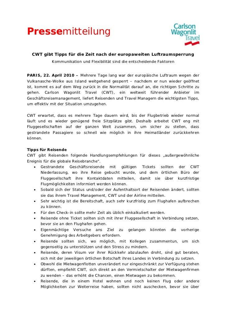 Pressemitteilung  CWT gibt Tipps für die Zeit nach der europaweiten Luftraumsperrung            Kommunikation und Flexibil...
