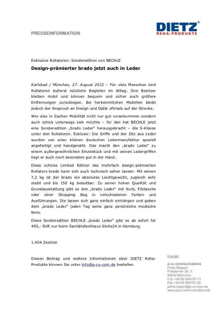 PRESSEINFORMATIONExklusive Rollatoren: Sonderedition von BECHLEDesign-prämierter brado jetzt auch in LederKarlsbad / Münch...