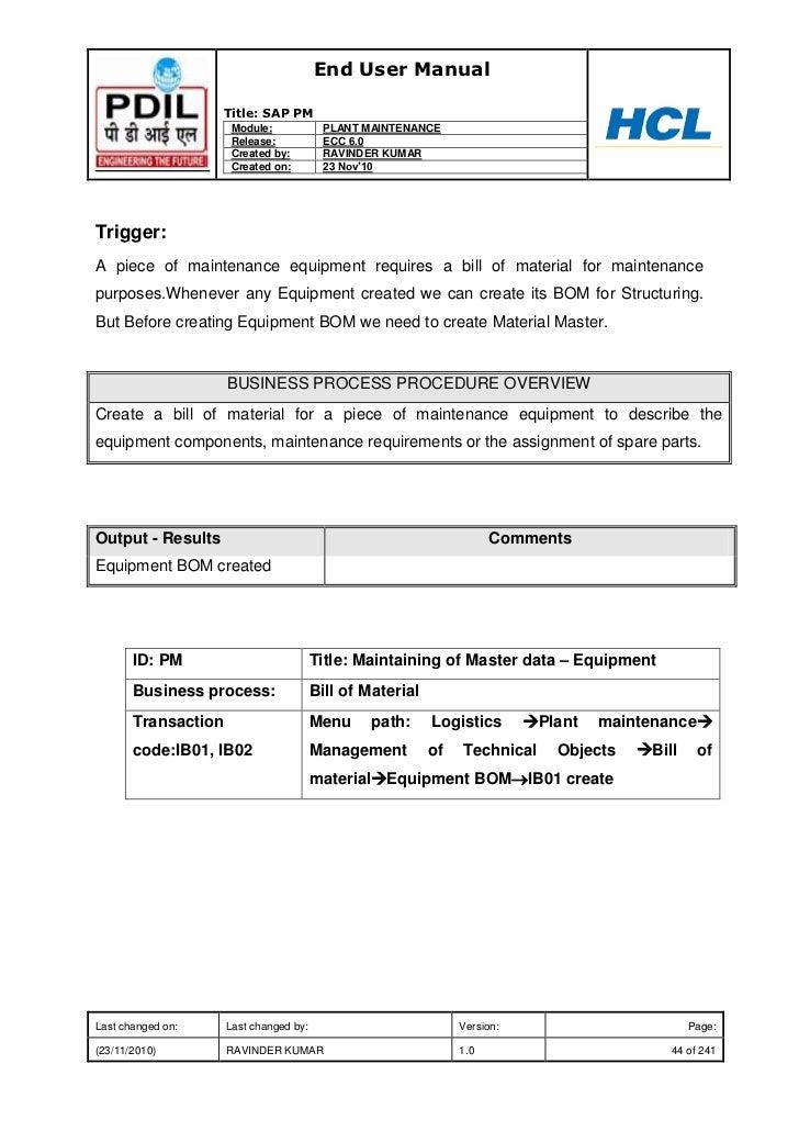 sap plant maintenance module manual pdf