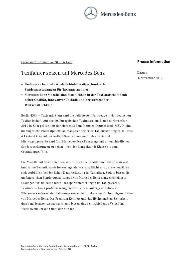 Europäische Taximesse 2010 in Köln                                               Presse-InformationTaxifahrer setzen auf M...