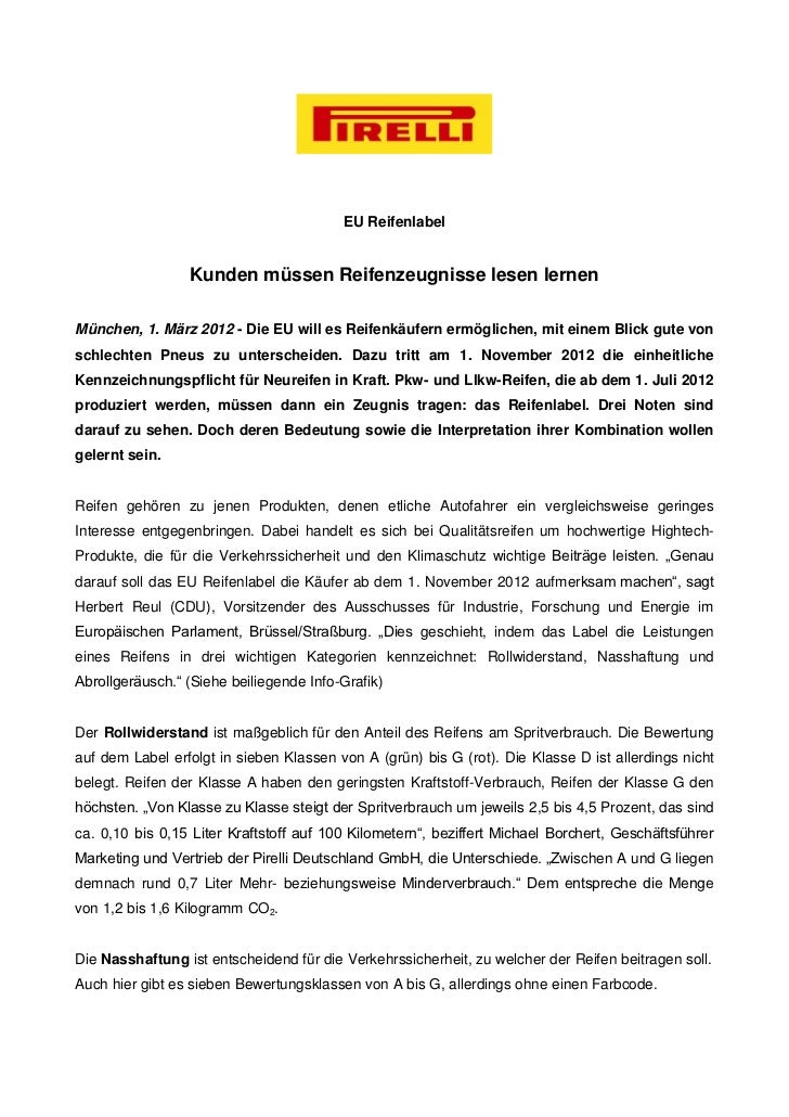 EU Reifenlabel                 Kunden müssen Reifenzeugnisse lesen lernenMünchen, 1. März 2012 - Die EU will es Reifenkäuf...