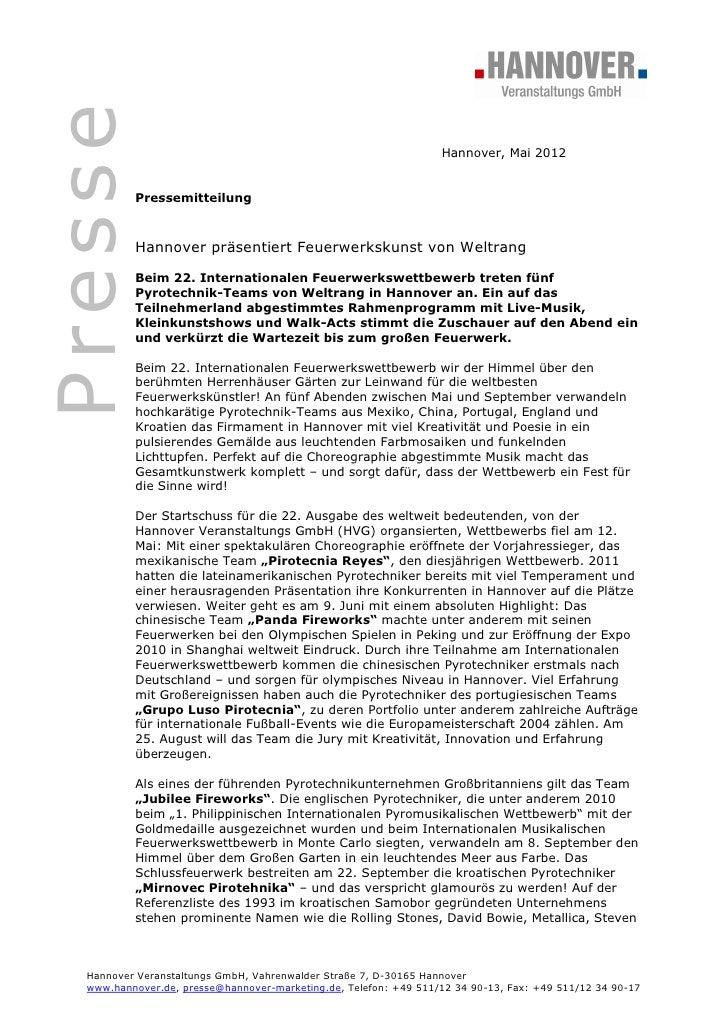 Presse                                                                  Hannover, Mai 2012          Pressemitteilung      ...