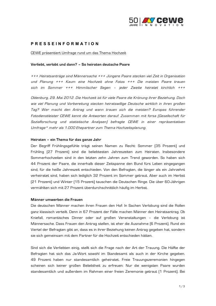 PRESSEINFORMATIONCEWE präsentiert Umfrage rund um das Thema HochzeitVerliebt, verlobt und dann? – So heiraten deutsche Paa...