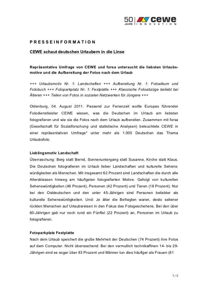 PRESSEINFORMATIONCEWE schaut deutschen Urlaubern in die LinseRepräsentative Umfrage von CEWE und forsa untersucht die lieb...