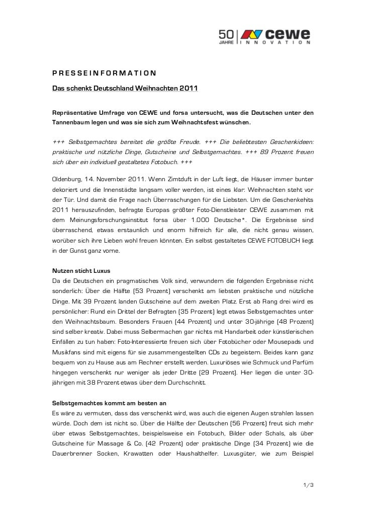 PRESSEINFORMATIONDas schenkt Deutschland Weihnachten 2011Repräsentative Umfrage von CEWE und forsa untersucht, was die Deu...