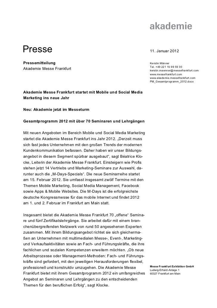 Presse                                                                  11. Januar 2012Pressemitteilung                   ...