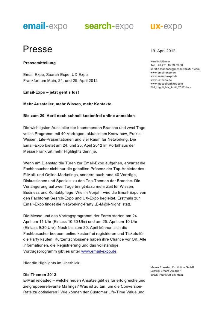 Presse                                                                19. April 2012                                      ...