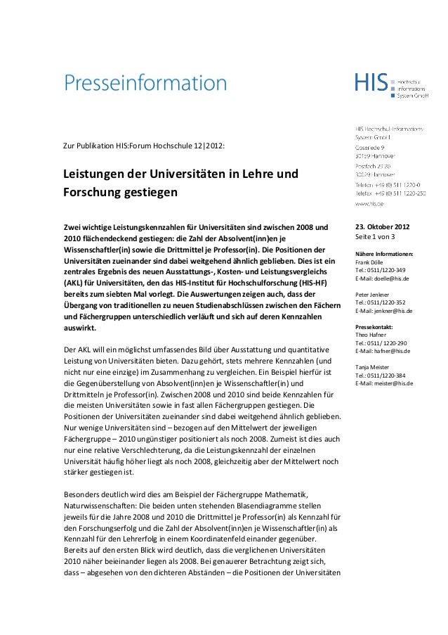 Zur Publikation HIS:Forum Hochschule 12 2012:Leistungen der Universitäten in Lehre undForschung gestiegenZwei wichtige Lei...