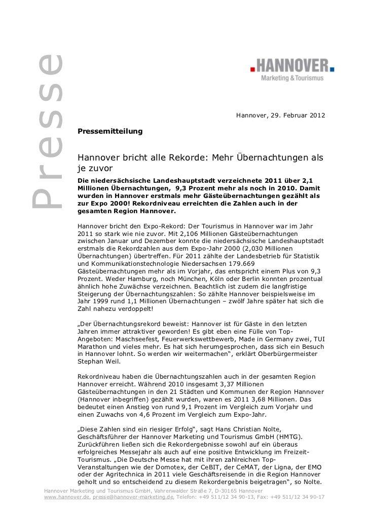 Presse                                                                       Hannover, 29. Februar 2012              Press...
