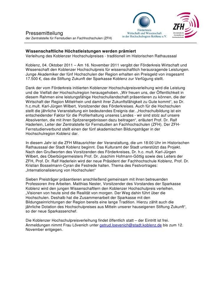 Pressemitteilungder Zentralstelle für Fernstudien an Fachhochschulen (ZFH)Wissenschaftliche Höchstleistungen werden prämie...