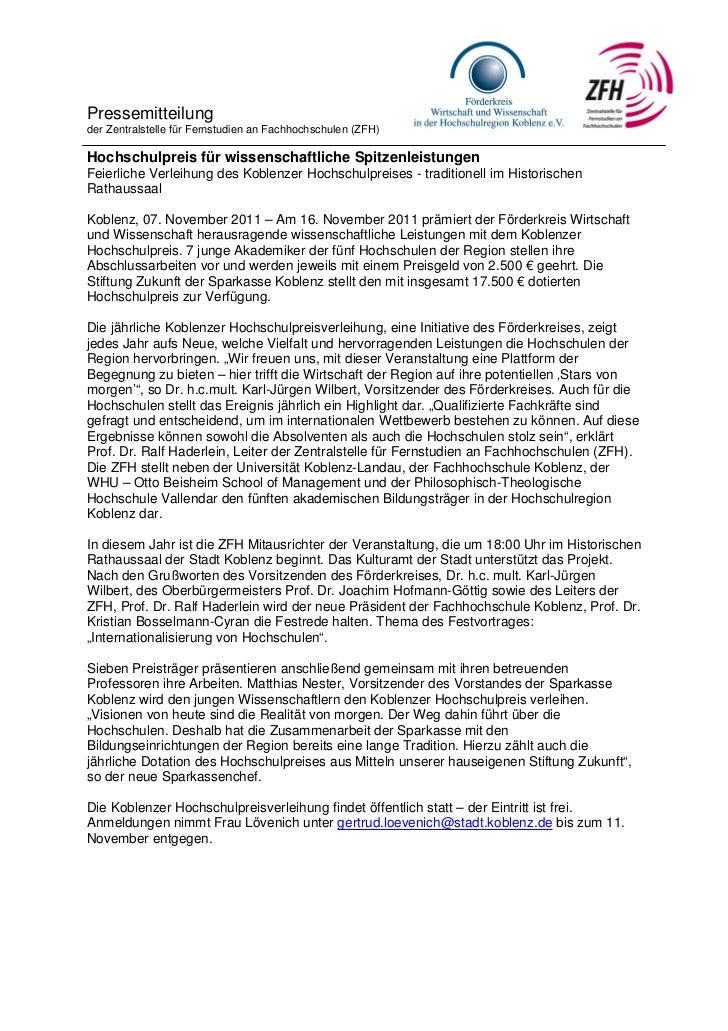 Pressemitteilungder Zentralstelle für Fernstudien an Fachhochschulen (ZFH)Hochschulpreis für wissenschaftliche Spitzenleis...