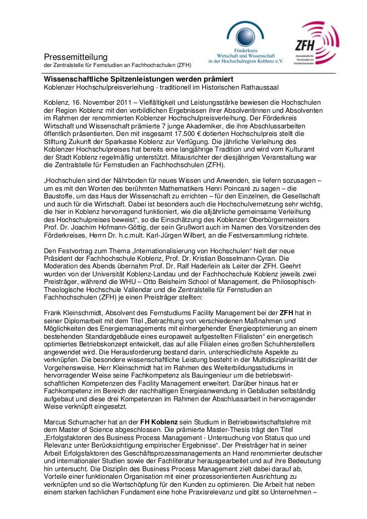 Pressemitteilungder Zentralstelle für Fernstudien an Fachhochschulen (ZFH)Wissenschaftliche Spitzenleistungen werden prämi...
