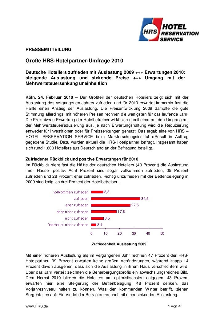 PRESSEMITTEILUNGGroße HRS-Hotelpartner-Umfrage 2010Deutsche Hoteliers zufrieden mit Auslastung 2009 +++ Erwartungen 2010:s...