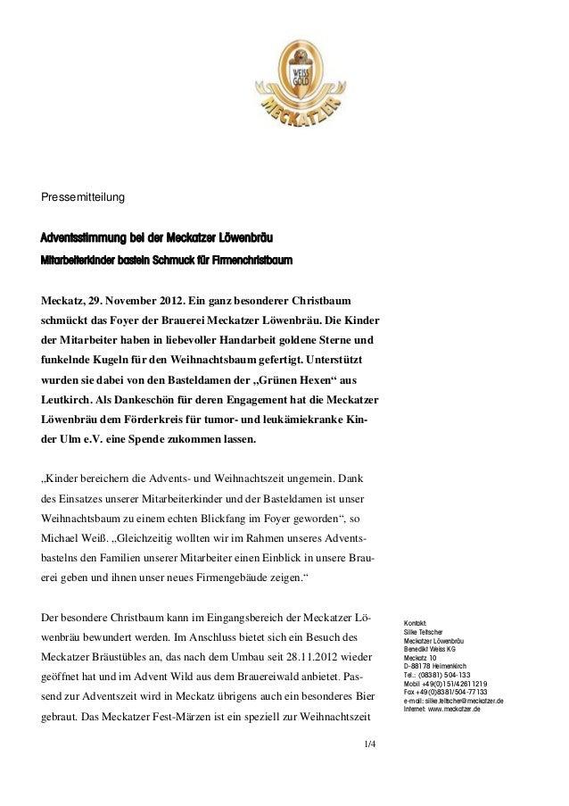 PressemitteilungAdventsstimmung bei der Meckatzer LöwenbräuMitarbeiterkinder basteln Schmuck für FirmenchristbaumMeckatz, ...