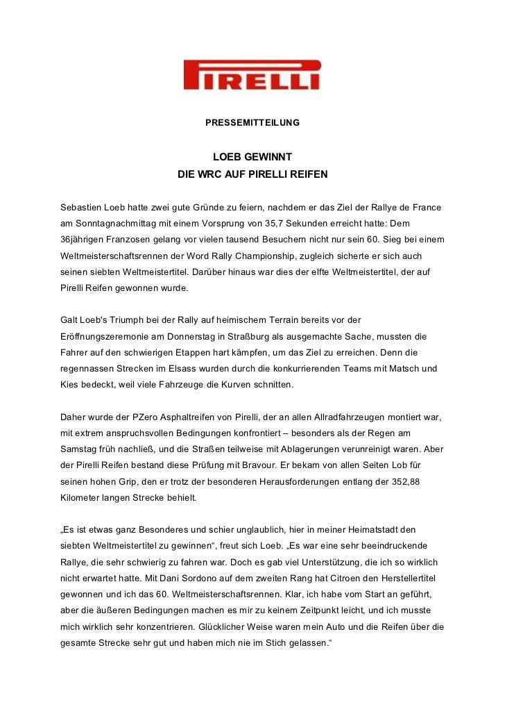 PRESSEMITTEILUNG                                     LOEB GEWINNT                             DIE WRC AUF PIRELLI REIFENSe...