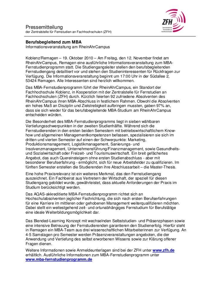 Pressemitteilungder Zentralstelle für Fernstudien an Fachhochschulen (ZFH)Berufsbegleitend zum MBAInformationsveranstaltun...