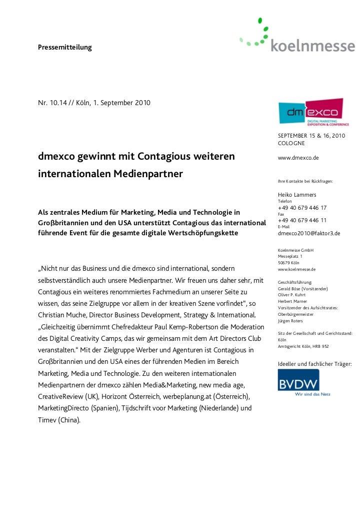 PressemitteilungNr. 10.14 // Köln, 1. September 2010                                                                      ...