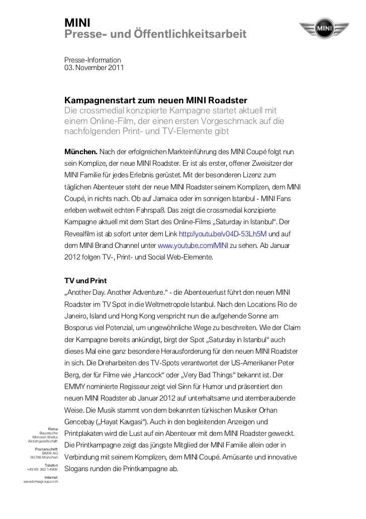 MINI                       Presse- und Öffentlichkeitsarbeit                       Presse-Information                     ...