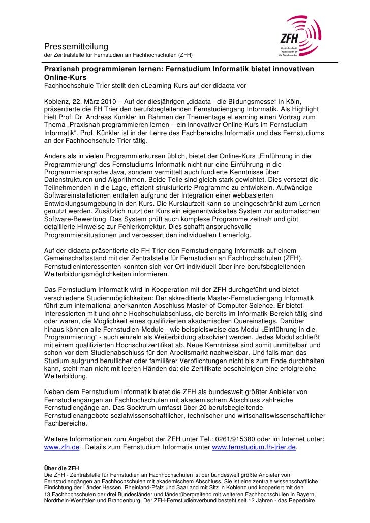 Pressemitteilungder Zentralstelle für Fernstudien an Fachhochschulen (ZFH)Praxisnah programmieren lernen: Fernstudium Info...