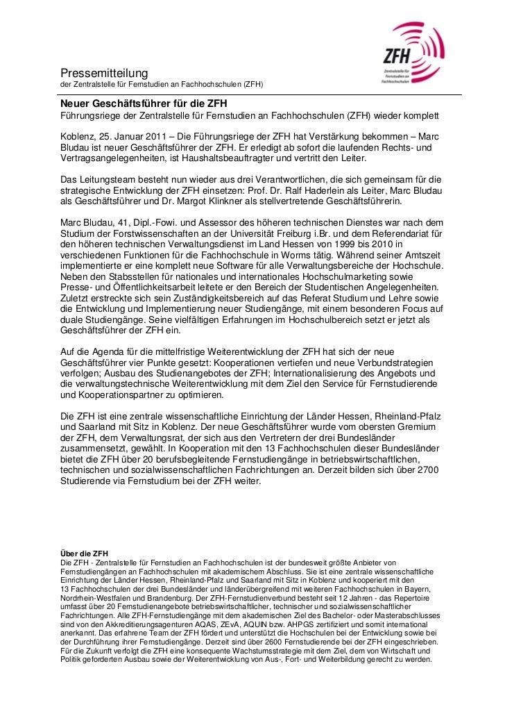 Pressemitteilungder Zentralstelle für Fernstudien an Fachhochschulen (ZFH)Neuer Geschäftsführer für die ZFHFührungsriege d...