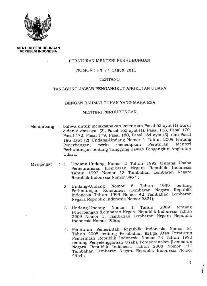 Peraturan Menteri Perhubungan No. PM 77 Tahun 2011