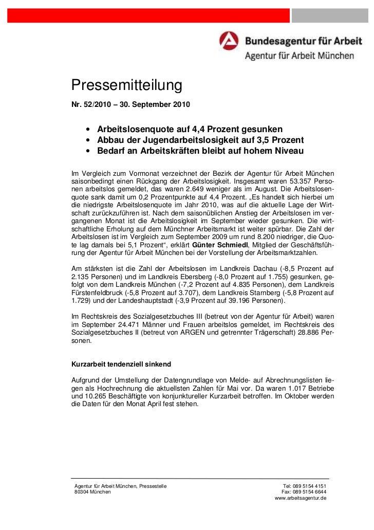 PressemitteilungNr. 52/2010 – 30. September 2010     • Arbeitslosenquote auf 4,4 Prozent gesunken     • Abbau der Jugendar...
