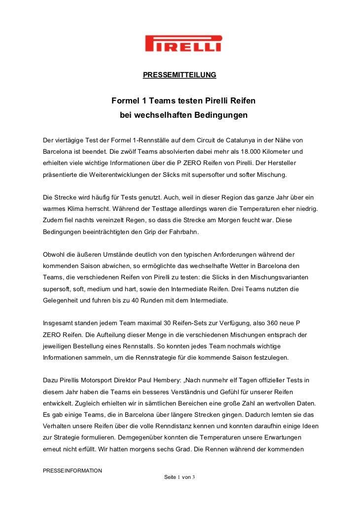 PRESSEMITTEILUNG                        Formel 1 Teams testen Pirelli Reifen                           bei wechselhaften B...