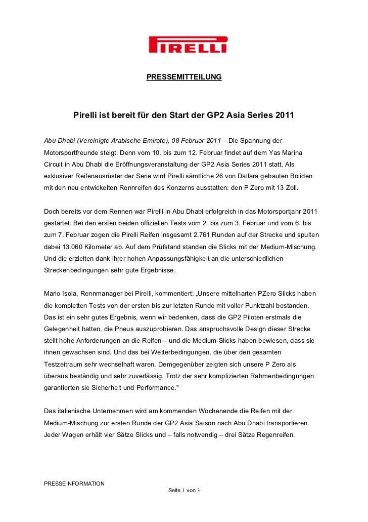 PRESSEMITTEILUNG          Pirelli ist bereit für den Start der GP2 Asia Series 2011Abu Dhabi (Vereinigte Arabische Emirate...