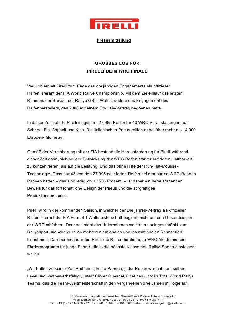 Pressemitteilung                                             GROSSES LOB FÜR                                       PIRELLI...