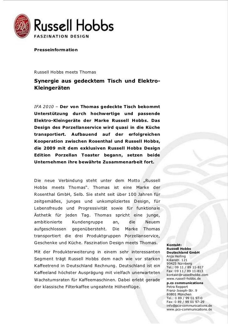 PresseinformationRussell Hobbs meets ThomasSynergie aus gedecktem Tisch und Elektro-KleingerätenIFA 2010 – Der von Thomas ...