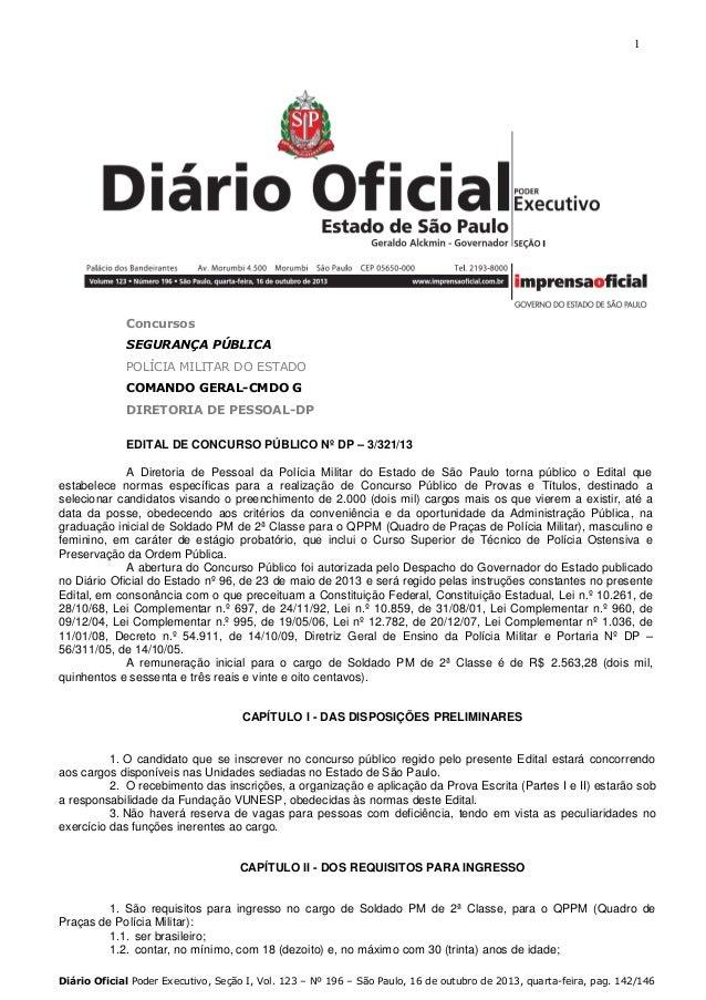 1  Concursos SEGURANÇA PÚBLICA POLÍCIA MILITAR DO ESTADO COMANDO GERAL-CMDO G DIRETORIA DE PESSOAL-DP EDITAL DE CONCURSO P...