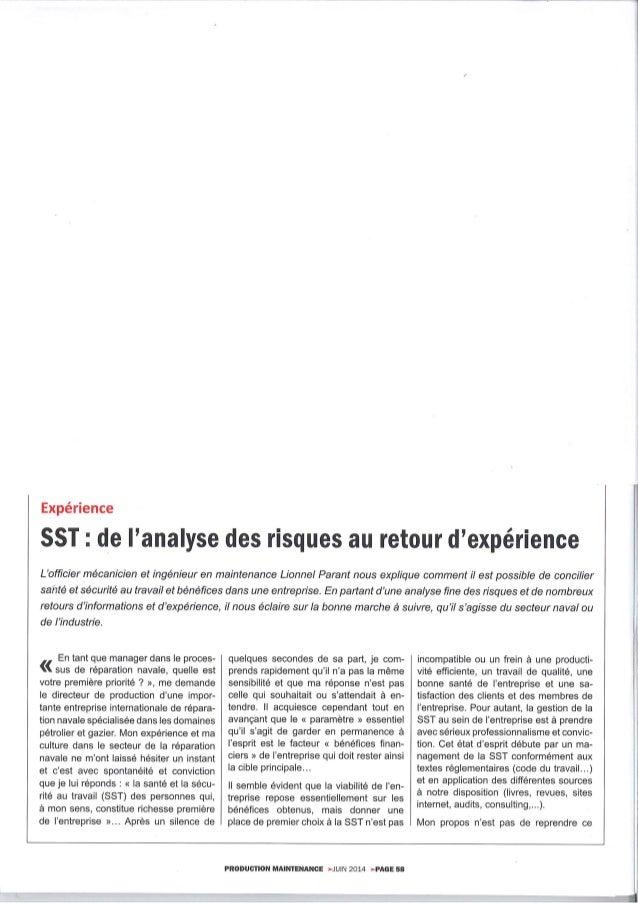 SST en maintenance navale - Analyse des risques et retour d'expérience
