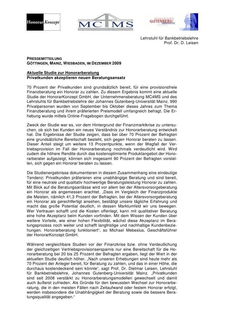 Studie Honorarberatung der Unternehmensberatung MC4MS und des Lehrstuhls für Bankbetriebslehre der Universität Mainz