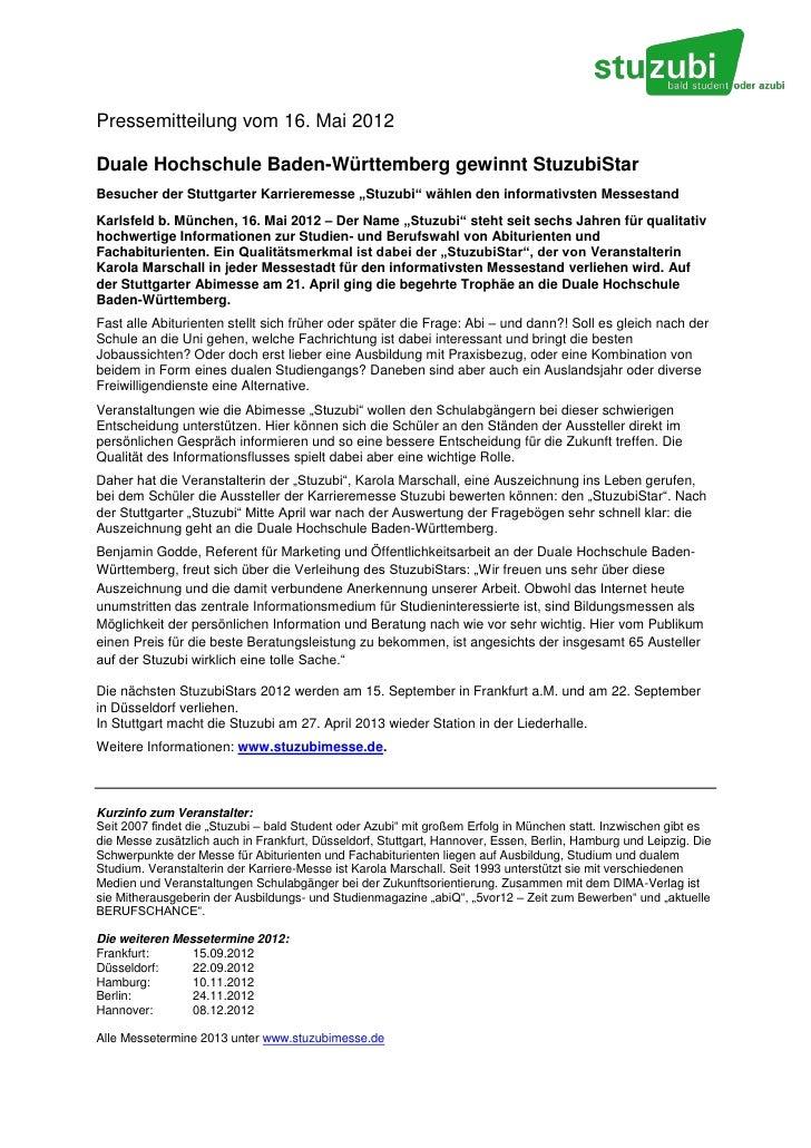 Pressemitteilung vom 16. Mai 2012Duale Hochschule Baden-Württemberg gewinnt StuzubiStarBesucher der Stuttgarter Karriereme...