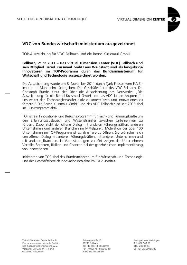 MITTEILUNG • INFORMATION • COMMUNIQUÉ  VDC von Bundeswirtschaftsministerium ausgezeichnet  TOP-Auszeichung für VDC Fellbac...