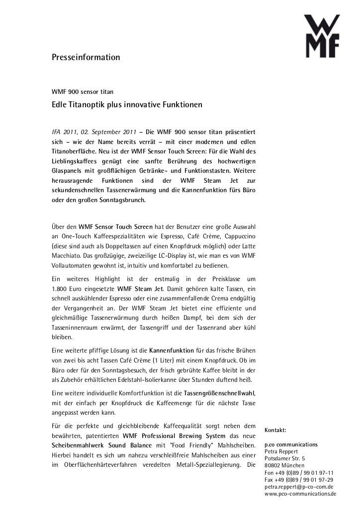 PresseinformationWMF 900 sensor titanEdle Titanoptik plus innovative FunktionenIFA 2011, 02. September 2011 – Die WMF 900 ...