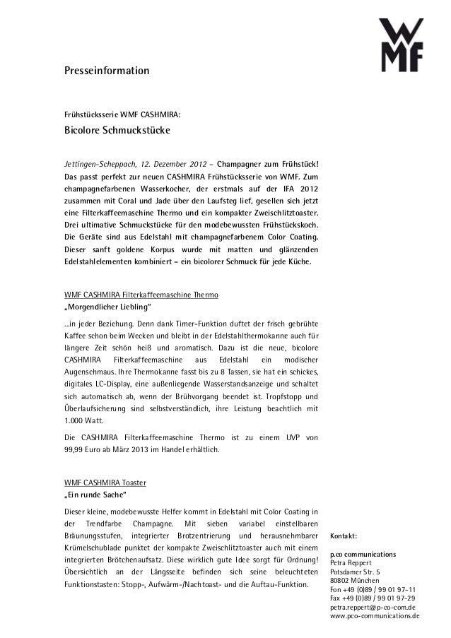 PresseinformationFrühstücksserie WMF CASHMIRA:Bicolore SchmuckstückeJettingen-Scheppach, 12. Dezember 2012 – Champagner zu...