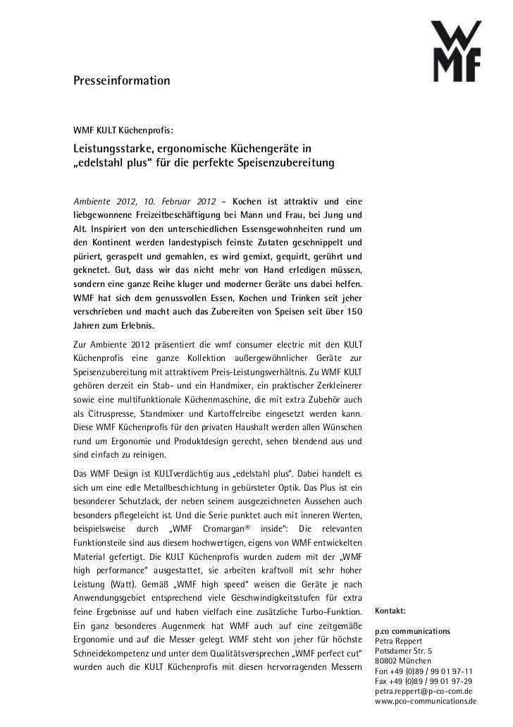 """PresseinformationWMF KULT Küchenprofis:Leistungsstarke, ergonomische Küchengeräte in""""edelstahl plus"""" für die perfekte Spei..."""