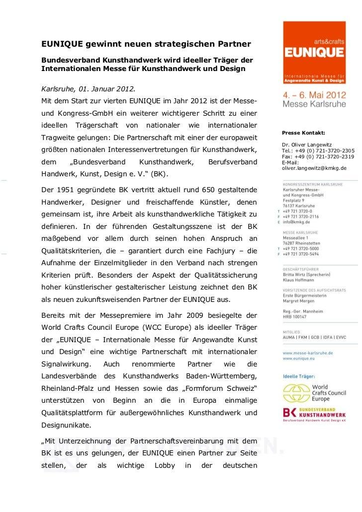EUNIQUE gewinnt neuen strategischen PartnerBundesverband Kunsthandwerk wird ideeller Träger derInternationalen Messe für K...