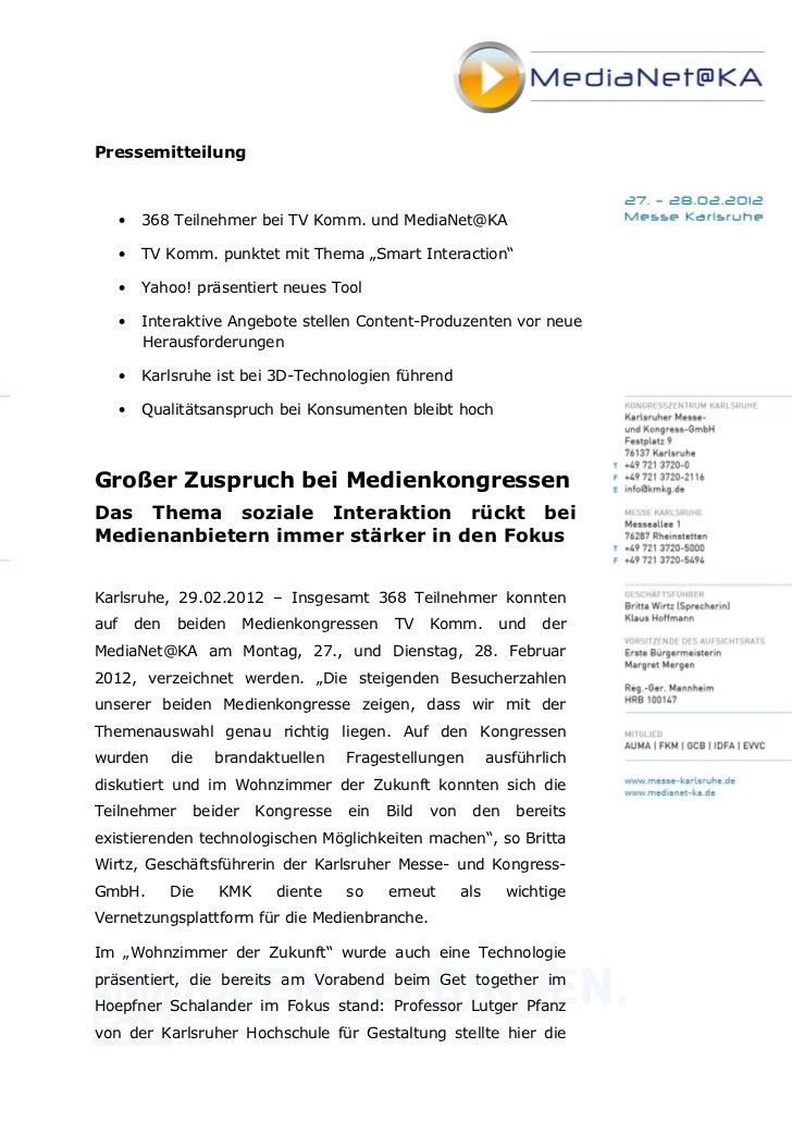 """Pressemitteilung      •   368 Teilnehmer bei TV Komm. und MediaNet@KA      •   TV Komm. punktet mit Thema """"Smart Interacti..."""