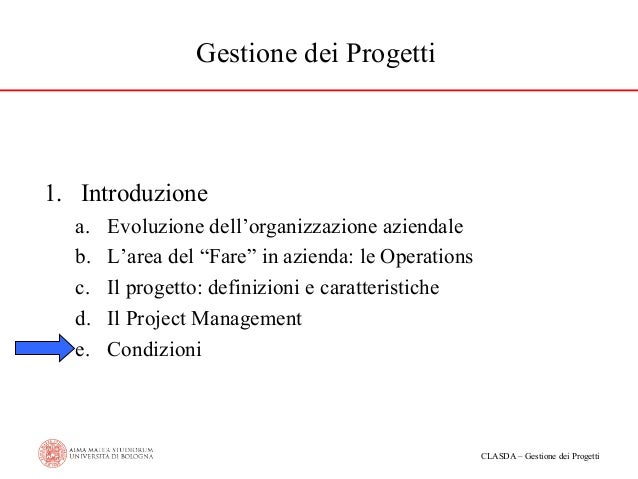 """Gestione dei Progetti  1. Introduzione a. b. c. d. e.  Evoluzione dell'organizzazione aziendale L'area del """"Fare"""" in azien..."""