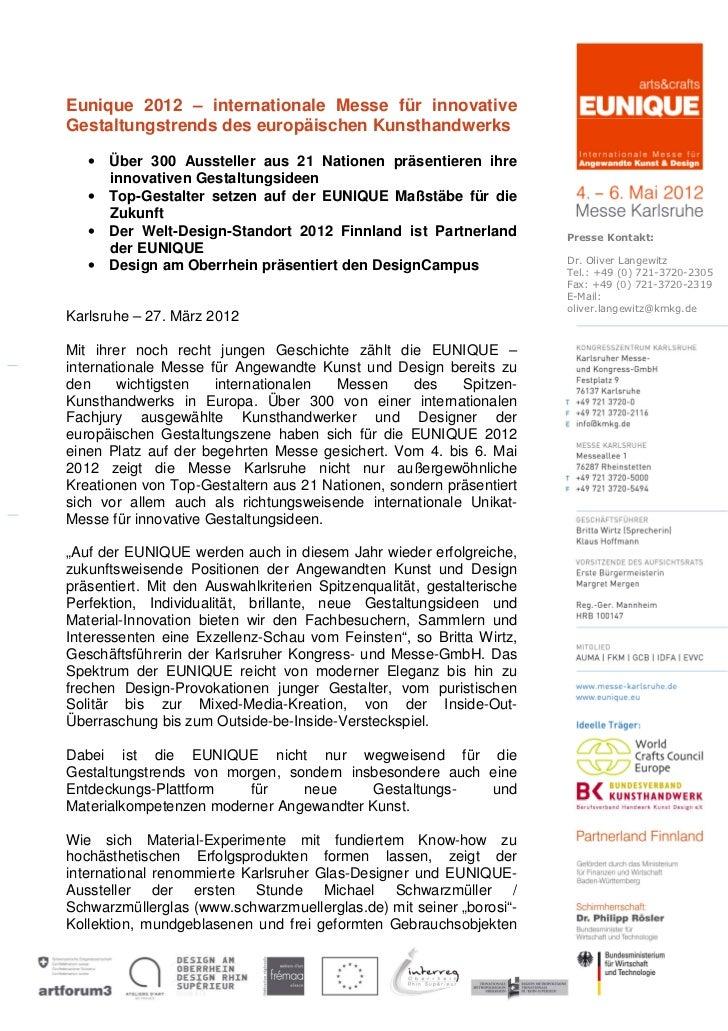 Eunique 2012 – internationale Messe für innovativeGestaltungstrends des europäischen Kunsthandwerks   • Über 300 Ausstelle...