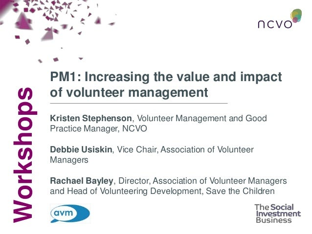 Increasing the value and impact of volunteer management