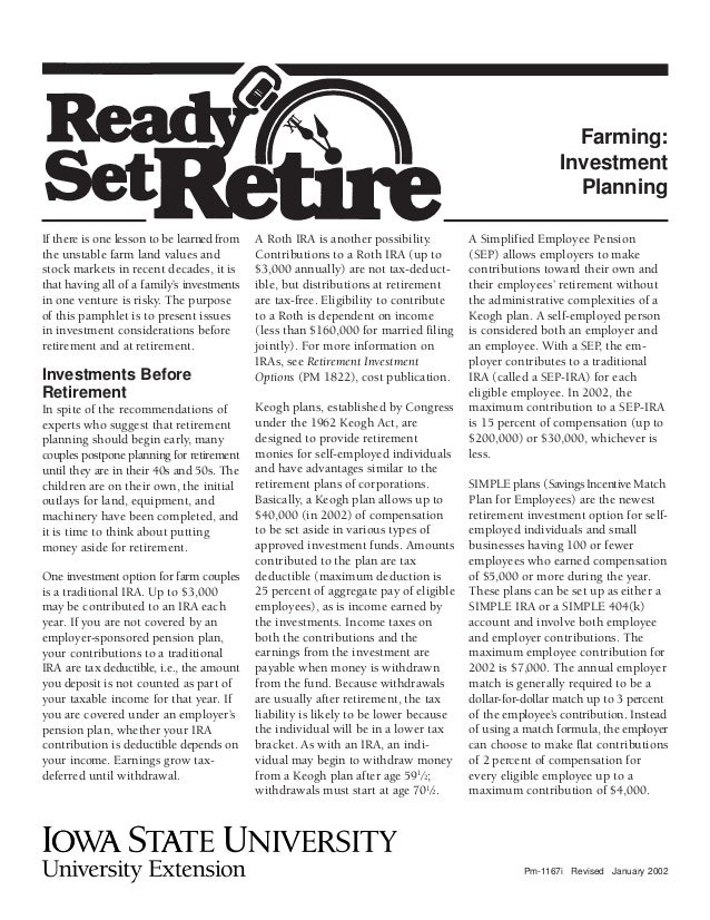 Ready Set Retire - Farming: Investment Planning - Iowa State ...