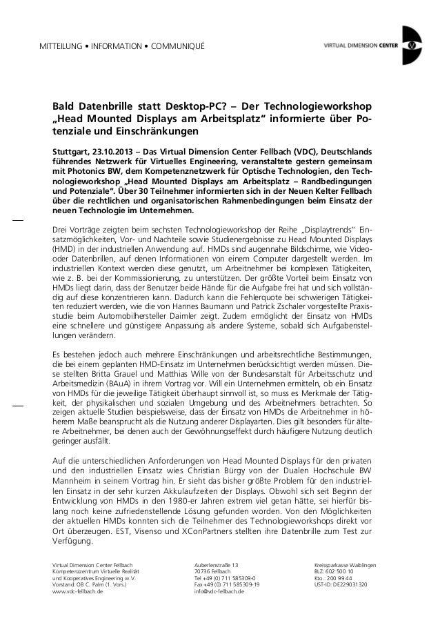 """MITTEILUNG • INFORMATION • COMMUNIQUÉ  Bald Datenbrille statt Desktop-PC? – Der Technologieworkshop """"Head Mounted Displays..."""
