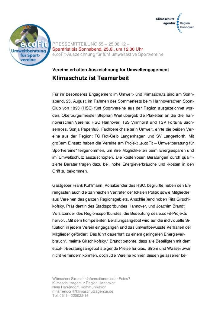 PRESSEMITTEILUNG 55 – 25.08.12 –Sperrfrist bis Sonnabend, 25.8., um 12.30 Uhre.coFit-Auszeichnung für fünf umweltaktive Sp...