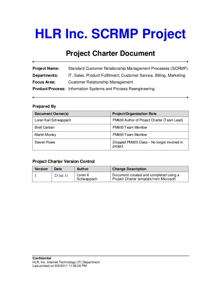 HLR Inc. SCRMP Project                      Project Charter DocumentProject Name:             Standard Customer Relationsh...