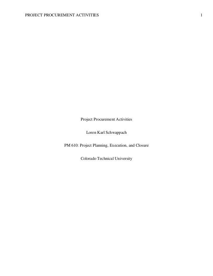 PROJECT PROCUREMENT ACTIVITIES                                    1                        Project Procurement Activities ...