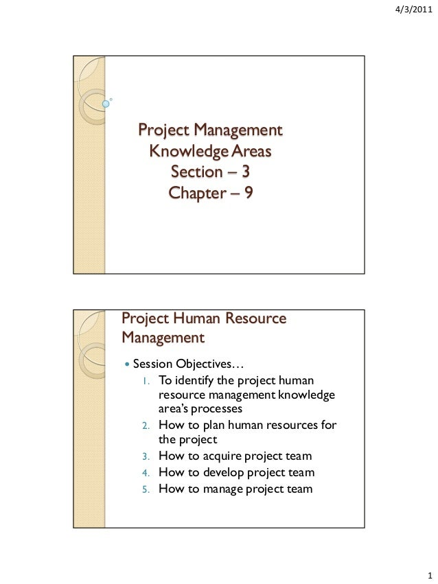 4/3/2011  Project Management Knowledge Areas Section – 3 Chapter – 9  Project Human Resource Management   Session Objecti...